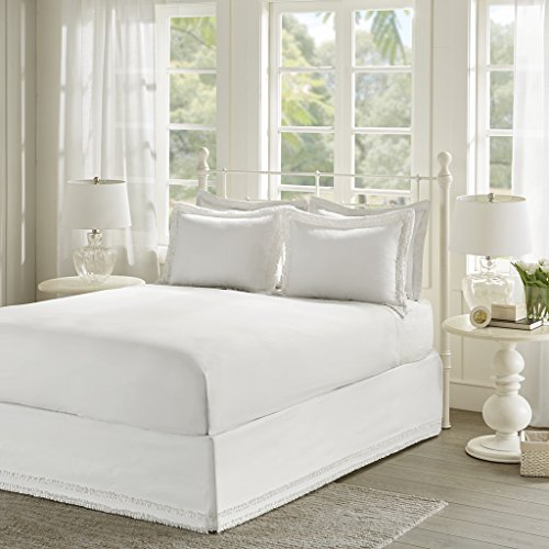Ruffled White Sheet Set , Cottage/Country Bed Sheets Queen , Bed Sheets Set 3-Piece Includes 1 bedskirt and 2 coordinating shams