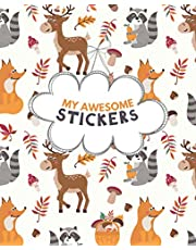 My Awesome Stickers: Blank Sticker Book for Collecting Stickers | Reusable Sticker Collection Album for Kids - Woodland Animals