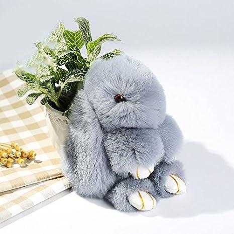 Cewaal Cute Conejo Suave Conejo de Piel de teléfono Colgante de Bolso Chica Anillo de la Cadena dominante para el Bolso y los monederos Colgante de ...