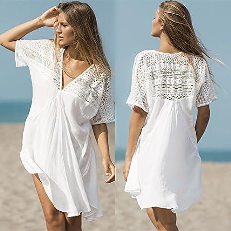 ShouYu El Nuevo Resort Sun a Granel en Gran número de algodón Blanca Playa Vestido Sexy Traje de baño Bikini Cover-up Manto Chaqueta, una Talla Blanco: Amazon.es: Deportes y aire libre