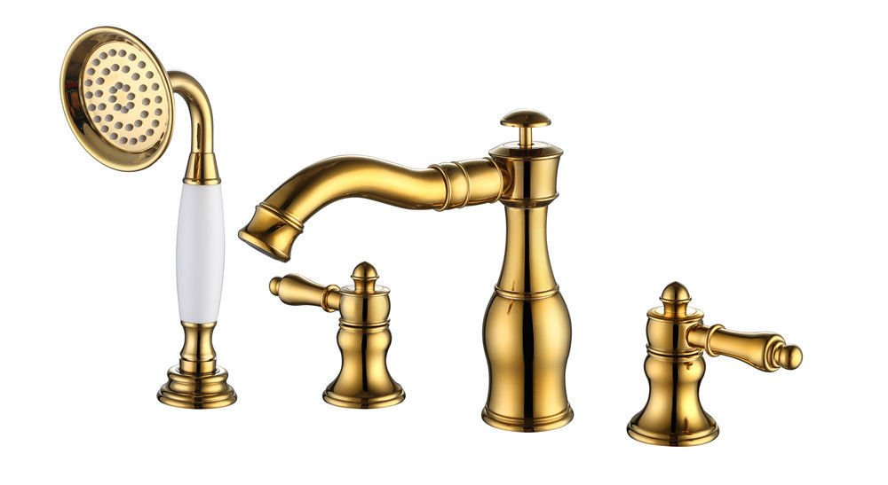 NewBorn Faucet Water Taps Hot And Cold Water The Brass Bath Water Tap Bath Shower Water Tap Antique Bath Four Four-Hole Water Tap