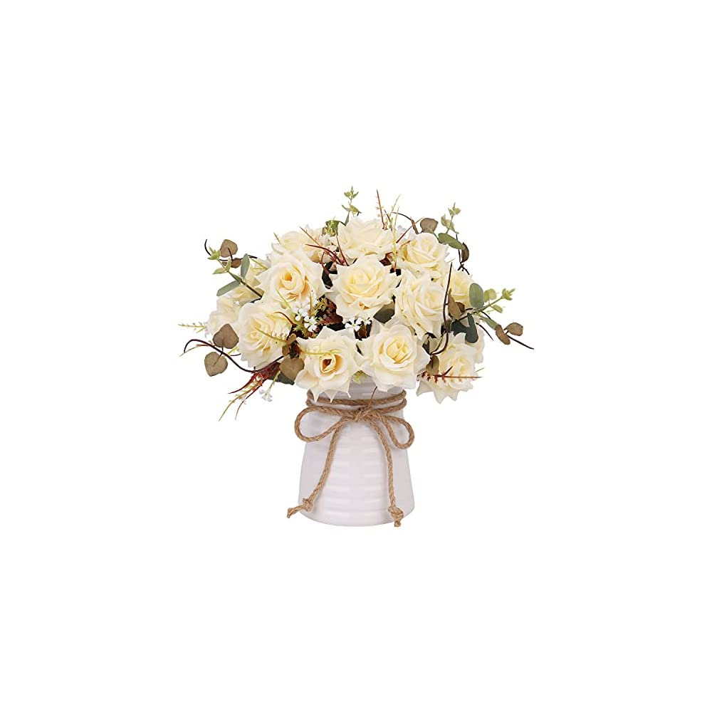YILIYAJIA Artificial Flowers in Vase Silk Rose Arrangements Fake Faux Flowers Bouquets with Ceramics Vase Dinning Table…