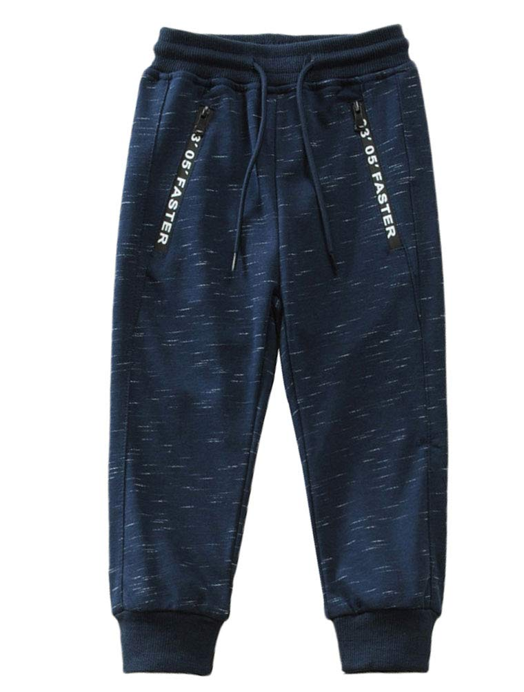 Mallimoda Boy's Knit Cotton Sweatpants Casual Sport Drawstring Waist Trousers Style 1 Navy 11-12 Years