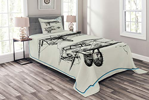Ambesonne Airplane Bedspread, Classic Nostalgic Planes Aircraft Propeller in The Sky Fast Travel Wings Sketch, Decorative Quilted 2 Piece Coverlet Set with Pillow Sham, Twin Size, Blue Black