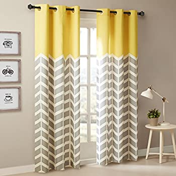 Intelligent Design Yellow Curtains For Living Room, Modern Contemporary  Grommet Room Darkening Curtains For Bedroom, Alex Geometric Chevron Window  Curtains, ...