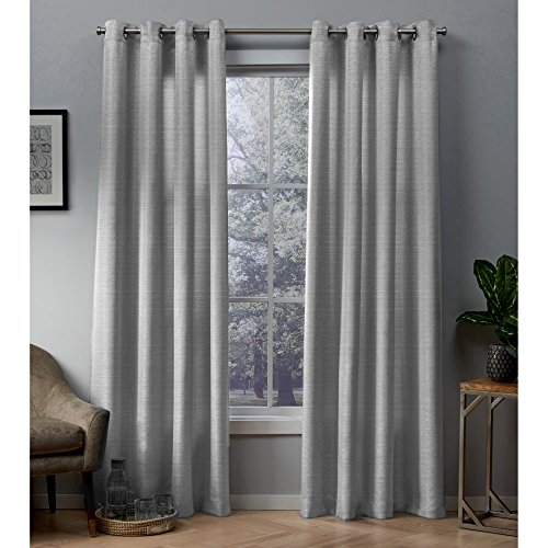 Exclusive Home Curtains Whitby Metallic Slub Yarn Textured Silk Look Window Curtain Panel Pair with Grommet Top, 54x108, Silver, 2 Piece (Grey Silver Curtains)