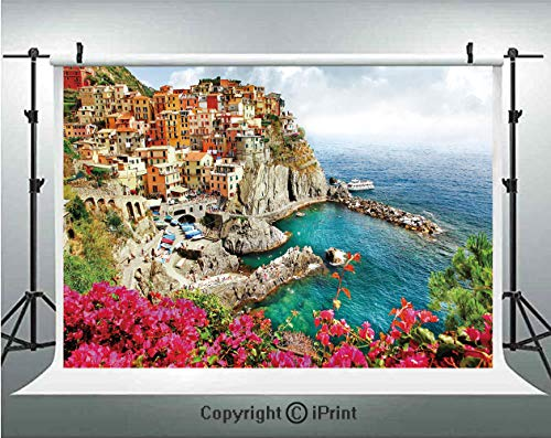 Italy Photography Backdrops Monarola Antique Village in Cinque Terre Coastal Panorama Summer Beach Scenic View Decorative,Birthday Party Background Customized Microfiber Photo Studio Props,10x6.5ft,Mu