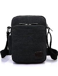 Heyrock Men Multi-function Military Canvas Satchel Messenger School Shoulder Leather Bag(Black)