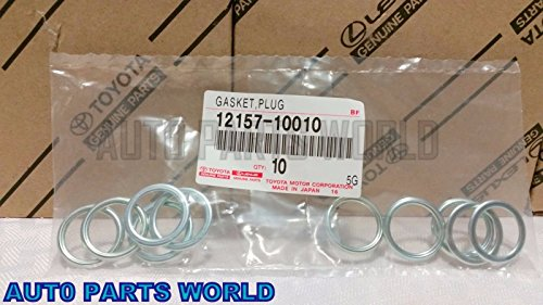 Toyota Oil Drain Plug Crushable Steel Gaskets Set of 10 OEM 12157-10010 (Toyota Oil Drain Plug compare prices)