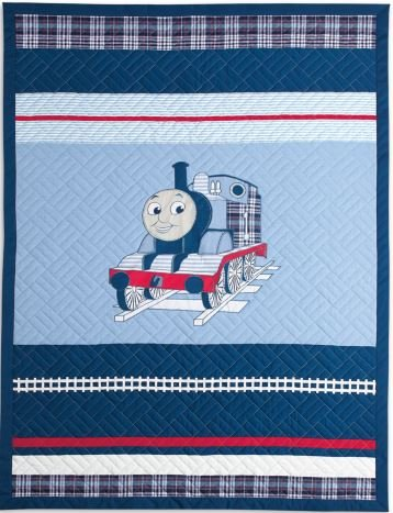 Thomas the Tank Engine Twin Size Embroidered Quilt and Sham Set- Upscale Version - 100% Cotton by Thomas the Tank Engine
