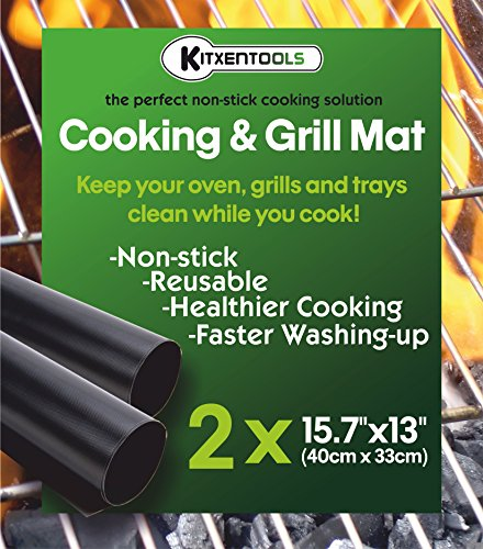 Kitxentools BBQ Grill Mat Set of 2 15.75 x 13 Inch - Non-Stick Grilling Mats - Best for Cooking Indoor Outdoor