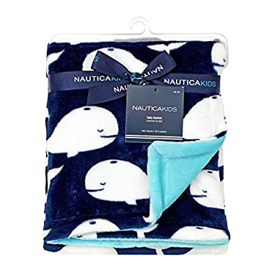 Nautica - Whale of a Tale - Baby Blanket Appliqued Coral Fleece