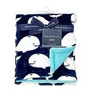 Nautica Kids Set Sail Nautical/Whale/Anchor Super Soft Double Sided Baby Blanket, Navy, Aqua, White