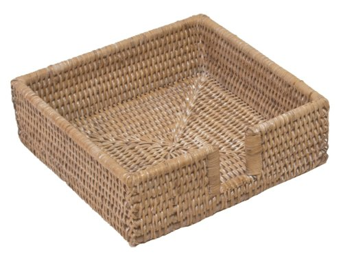 Holder Rattan - Entertaining with Caspari Rattan Luncheon Napkin Holder, Natural White, 1-Count (HL01W)