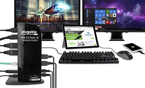 Plugable USB 3.0 Dual DisplayPort 4K Monitor Universal Laptop Docking Station for Windows (Dual 4K DisplayPort, Gigabit Ethernet, Audio, 6 USB Ports) by Plugable (Image #3)