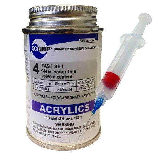 Weld-On 4 Acrylic Adhesive - 4 Oz and Weld-on 25-Gauge Precision Syringe Applicator
