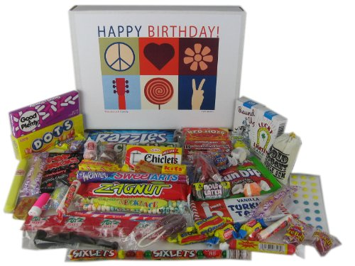 Woodstock Candy Happy Birthday Wishes Assorted Gift Box of Retro Nostalgic Candy for a Man or Woman