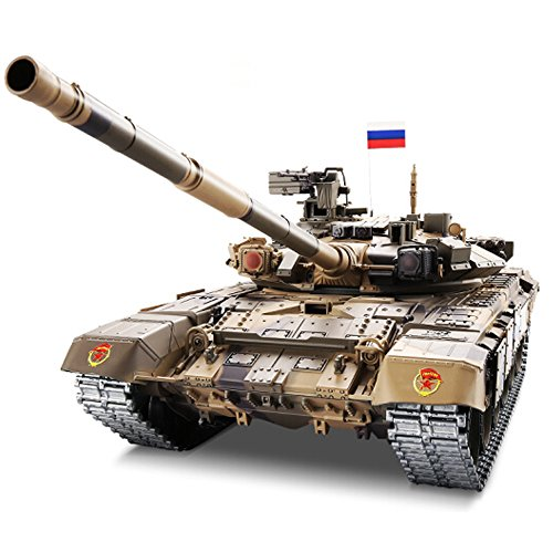 - Modified Edition 1/16 2.4ghz Remote Control Russia T90 Tank Model(360-Degree Rotating Turret)(Steel Gear Gearbox)(1800mah Battery)(Metal Tracks &Sprocket Wheel & Idle Wheel)
