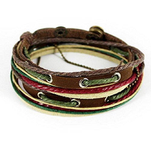 Fariishta Jewelry Colorful Cotton Rope Hand Braided Leather Wrap (Foiled Panther)
