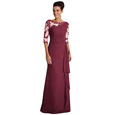 4ea7501c5d0 MOIKA Femme Robes Soiree Longue Sexy Dentelle Fleurie Moulante Manches  Longues Grande Taille Cocktail Clubbing Prom Chic Dames Sexy Robe Mariage   Amazon.fr  ...