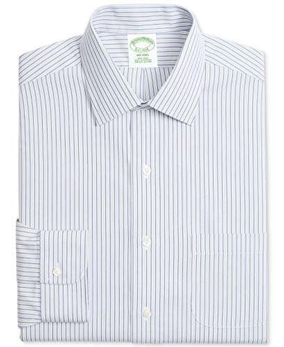 (Brooks Brothers Mens Pinstriped One Pocket Dress Shirt Blue 15)