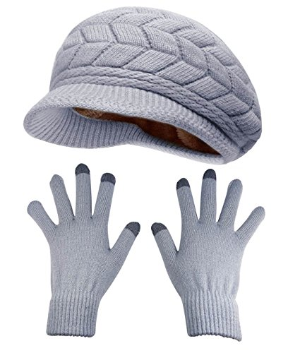 HINDAWI Winter Hat Gloves for Women Knit Warm Snow Ski Outdoor Caps Touch Screen Mittens Grey