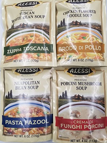 (Alessi Athentic Italian Soup Mix 4 Flavor Variety Bundle: (1) Tuscan White Bean Soup, (1) Chicken Flavored Noodle Soup, (1) Porcini Mushroom Soup, and (1) Neapolitan Bean Soup, 4-6 Oz Ea)
