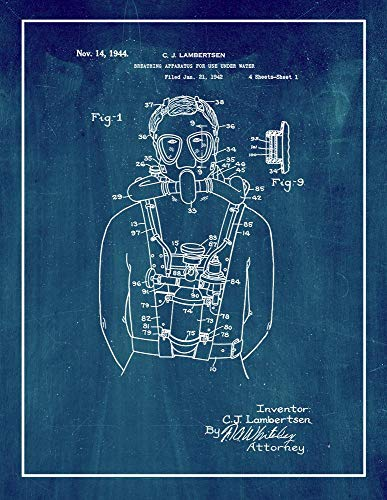 "Breathing Apparatus for Use Under Water Patent Print Midnight Blue with Border (5"" x 7"") M14254"