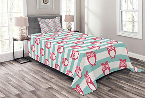 Ambesonne Owl Bedspread Set Twin Size, Large Flower Eyed Owls Pattern Better Positive Perspective Hope Modern Illustration, Decorative Quilted 2 Piece Coverlet Set with Pillow Sham, Turquoise Pink