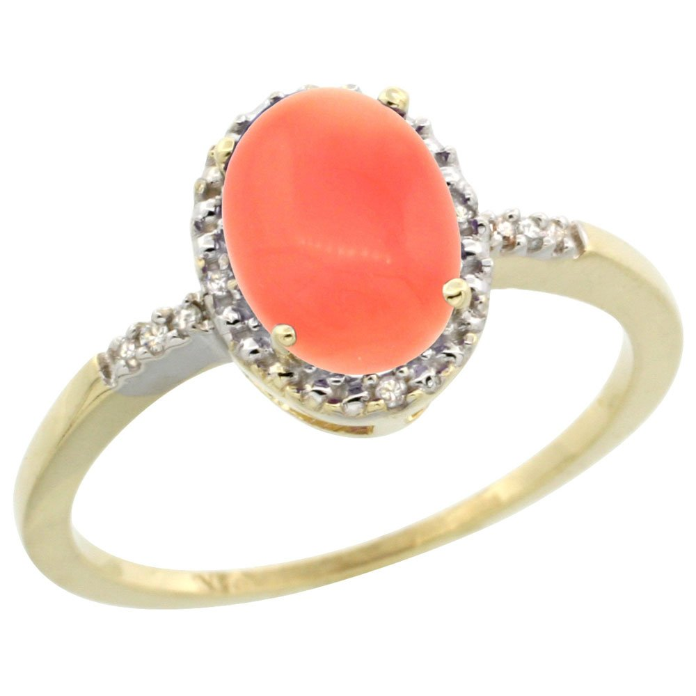 10K Yellow Gold Diamond Natural Coral Ring Oval 8x6mm, size 5 by Silver City Jewelry
