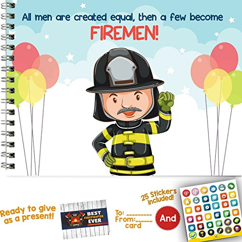 Best Fireman in the Wolrd Memory Book. Firefighter themed toddler birthday party recognition award and photo album, to keep memories of his/her 1st career. Role play costume accessory for children.