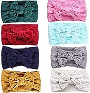 GBATERI 8 Pack Baby Girl Headbands and Bows,Super Soft Nylon Headband Hairband Turban for Newborn Infant Toddl