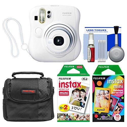 Fujifilm Instax Mini 25 Instant Film Camera (White) with 20 Twin & 10 Rainbow Prints + Case + Kit
