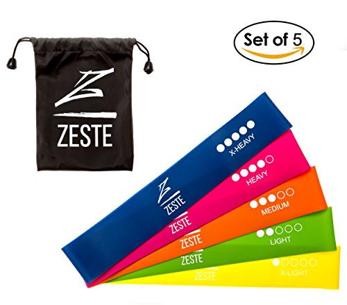 ZESTE Resistance Bands - Best Home and Gym Fitness Latex Elastic Loop Band for Workout, Exercise, Stretch, Strength Training (Set of 5, 12x2 inches)