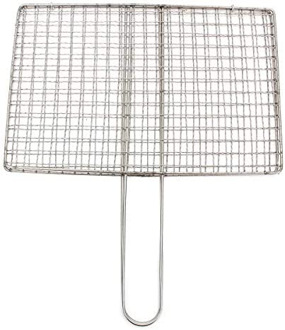 QHAI Barbecue Grillage Mesh Rack Barbecue Panier en Acier Inoxydable Mesh Barbecue Mesh Extérieur Jardin Barbecue Grill Pince Outil