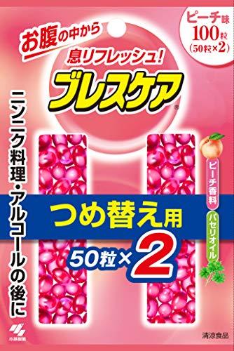 [구강청결제 브레스 케어(Breath care)] 입냄새 제거 삼키는 식청량 캡슐 리필용 피치 100알(50알×2개)