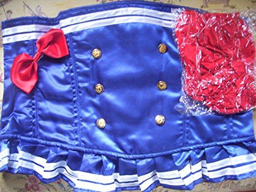 Daisy Corsets Women's Top Drawer Pin-Up Sailor Girl Premium Corset Costume, Blue, -