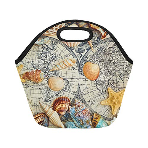 Insulated Neoprene Lunch Bag Moscow Russia April Sea Shells Lie On Large Size Reusable Thermal Thick Lunch Tote Bags For Lunch Boxes For Outdoors,work, Office, - Seashell Lies
