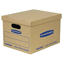 Bankers Box SmoothMove Moving Boxes with No-Tape Assembly, Lift -Off Lids And Easy-Carry Handles, 15 x 10 x 12 Inches - 10 Pack (7714203)