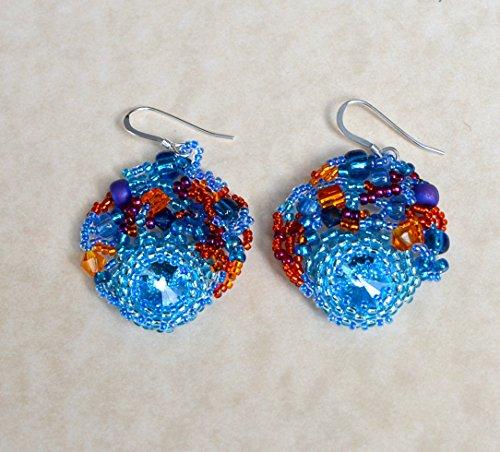 Disco freeform peyote seed beaded earrings multicolored. Art jewelry. Wedding, special occasion, prom (Freeform Earwire Earrings)
