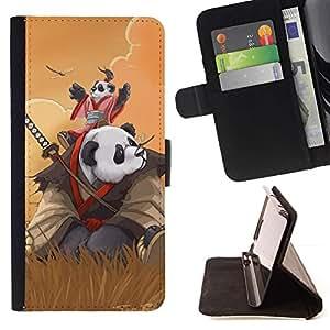 Momo Phone Case / Flip Funda de Cuero Case Cover - Samurai Panda;;;;;;;; - Samsung Galaxy Note 3 III