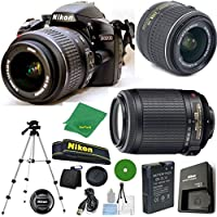 Nikon D3200 - International Version (No Warranty), 18-55mm f/3.5-5.6 DX VR, Nikon 55-200mm f4-5.6G VR, Tripod, 6pc Cleaning Set