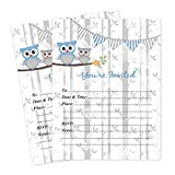 Owl Boy Woodland Baby Boy Invitations 20 Count With Envelopes
