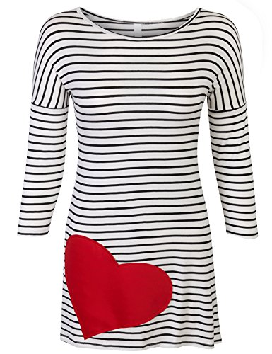 KOGMO Womens 3/4 Sleeve Stripe Cute Heart Tunic Top Shirts-L-White