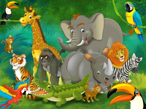 Jungle Animals Photo Wall Paper - Jungle and Animals Mural - Xxl Jungle Wall Decoration Nursery