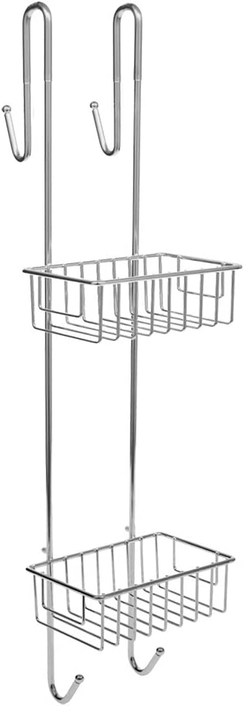 Bamodi Shower Caddy Hanging Stainless Steel - Rustproof 2-Tier Shower Shelf - No Drilling Required - Hangable Bathroom Shower Baskets with 2 Towel Hooks (70 x 21 x 18,5 cm)