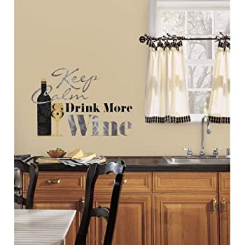 RoomMates RMK2373SCS Keep Calm and Drink Wine Quote Peel and Stick Wall Decals, 1-Pack