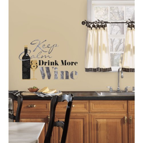 (RoomMates Keep Calm & Drink Wine Quote Peel And Stick Wall Decals)