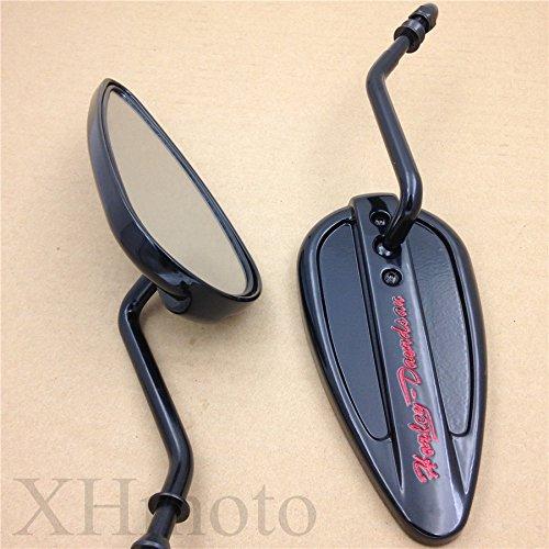 Black Aluminum Teardrop Mirror For Harley Sportster Low Glide Fxrs Fxrt Softail