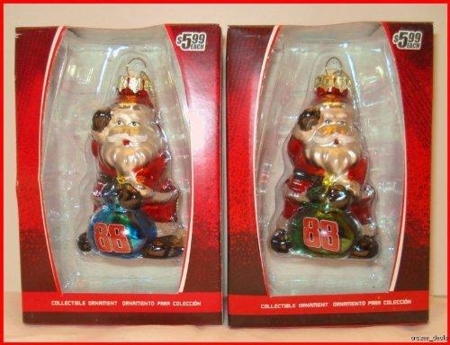 Dale Earnhardt Jr Ornaments (Dale Earnhardt Jr. Nascar Figurine Santa Glass Ornament set of 2)